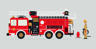 Fire truck and firefighters. Fire trucks with firefighters and fire fighting equipment Royalty Free Stock Photo
