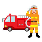 Fire truck and firefighters. Vector illustration.Original paintings and drawing Royalty Free Stock Photo