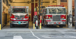 Fire truck at the Firehouse. Fire truck in the firehouse in San Francisco Royalty Free Stock Photos