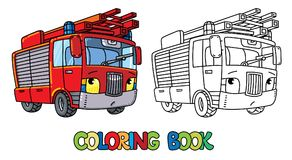 Fire truck or firemachine with eyes Coloring book. Fire truck or machine coloring book for kids. Small funny vector cute car with eyes and mouth. Children vector Royalty Free Stock Images