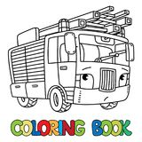 Fire truck or firemachine with eyes Coloring book. Fire truck or machine coloring book for kids. Small funny vector cute car with eyes and mouth. Children vector Royalty Free Stock Photography