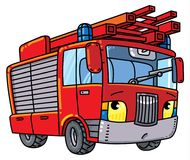 Fire truck or firemachine with eyes. Fire truck or machine. Small funny vector cute car with eyes and mouth. Children vector illustration Stock Images