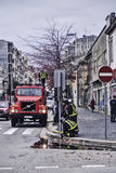 Fire truck and firemen Royalty Free Stock Photo