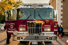 Fire truck and firemen Royalty Free Stock Image