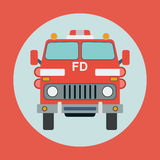 Fire truck flat vector illustration Royalty Free Stock Images