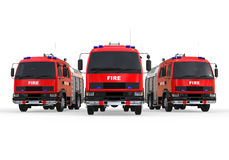 Fire Truck Fleet. 3D render image representing a fleet of fire trucks Royalty Free Stock Images