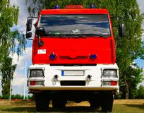 Fire truck 2. Fire truck on a football field Royalty Free Stock Photography
