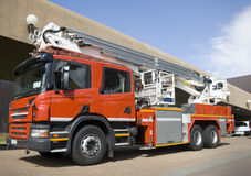 Fire Truck front angle. Red emergency vehicle or fire engine taken from front at angle Royalty Free Stock Photos