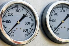 Fire Truck Gauges. Detail of gauges on a firetruck Royalty Free Stock Photography