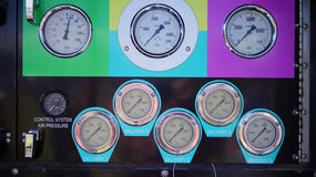 Fire truck gauges. A front view of a typical fire truck gauges showing the pressure of water and air available in the fire truck.  Photo taken on: September 14th Stock Image