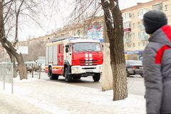 The fire truck goes on the road. VOLGOGRAD, RUSSIA - February 02, 2018: The fire truck goes on the road Stock Photography