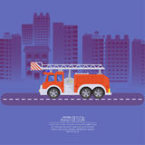 The fire truck. Going on the way to a background of the night city. Concept of fire safety. Service 911. Help in emergency situations. A vector illustration in Stock Images