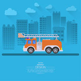 The fire truck. Going on the way to a city background. Concept of fire safety. Service 911. Help in emergency situations. A vector illustration in flat style Stock Photography
