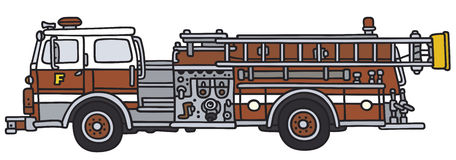 Fire truck. Hand drawing of a classic fire truck (not any real model Stock Photography