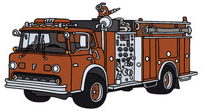 Fire truck. Hand drawing of a classic fire truck - not a real model Royalty Free Stock Image