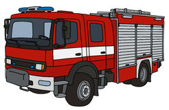 Fire truck. Hand drawing of a red fire truck - not a real type Stock Image
