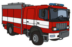 Fire truck. Hand drawing of a red fire truck - not a real type Stock Images