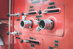 Fire truck hose connectors Stock Photography