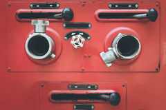 Fire truck hose connectors Royalty Free Stock Photography