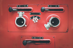 Fire truck hose connectors Royalty Free Stock Images