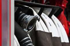 Fire truck hoses Stock Images