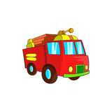 Fire truck icon, cartoon style. Fire truck icon in cartoon style isolated on white background. Transport symbol Royalty Free Stock Photo