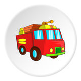 Fire truck icon, cartoon style. Fire truck icon in cartoon style isolated on white circle background. Transport symbol vector illustration Stock Images