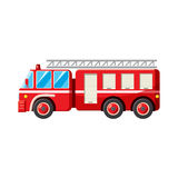Fire truck icon in cartoon style. On a white background Stock Image