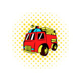 Fire truck icon, comics style. Fire truck icon in comics style on a white background Royalty Free Stock Photo