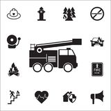 Fire truck icon. Detailed set of fire guard icons. Premium quality graphic design sign. One of the collection icons for websites,. Web design, mobile app on Stock Photography