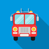 Fire truck icon flat. Single silhouette fire equipment icon from the big fire Department flat - stock vecto - stock. Fire truck icon flat style. Single Royalty Free Stock Photography