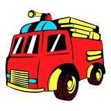 Fire truck icon, icon cartoon. Fire truck icon in icon in cartoon style isolated vector illustration Royalty Free Stock Photos