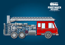 Fire truck icon with mechanical details. Fire truck mechanics symbol of fire engine with red cabin, telescopic turntable ladder on the roof and car body composed Royalty Free Stock Photos