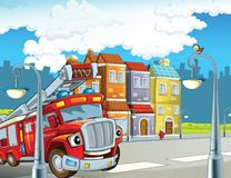 The fire truck - illustration for the children. The happy and colorful illustration for the children Stock Photography