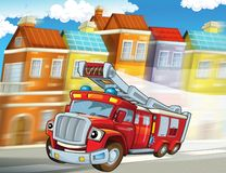 The fire truck - illustration for the children. The happy and colorful illustration for the children Royalty Free Stock Photography