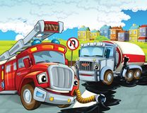 The fire truck - illustration for the children. The happy and colorful illustration for the children Stock Photo