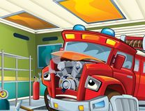 The fire truck - illustration for the children. The happy and colorful illustration for the children Royalty Free Stock Images