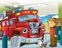 The fire truck - illustration for the children Stock Photo