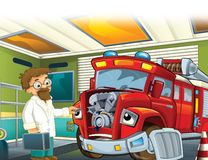 The fire truck - illustration for the children. The happy and colorful illustration for the children Royalty Free Stock Photo