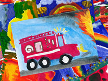 Fire truck illustration collage. Fire truck with illustration collage Royalty Free Stock Photos