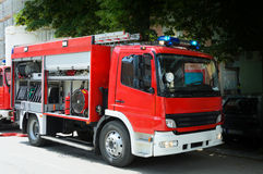 Free Fire Truck In Situation With Flashing Lights Royalty Free Stock Photo - 63264865