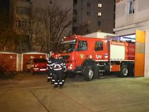 Fire truck. At Inspectorate for Emergency Situations `Dealul Spirii` Bucharest - Ilfov, Romania stock video footage