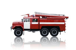 Fire Truck Isolated. Red fire truck isolated with shadow Stock Photo
