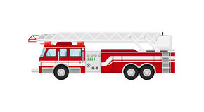 Fire truck isolated vector illustration. On white background. Service auto vehicle, city emergency transport, urban roadside assistance car Stock Photography