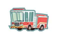 Fire truck isolated on white background. Illustration Stock Image