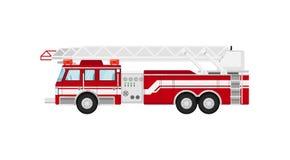 Fire truck isolatedillustration. On white background. Service auto vehicle, city emergency transport, urban roadside assistance car Stock Images
