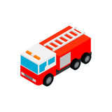 Fire truck isometric 3d icon. On a white background Royalty Free Stock Photo