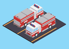 Fire truck isometric Royalty Free Stock Photos