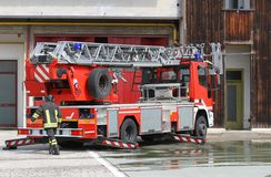 Fire truck of Italian firefighter during during an emergency Stock Photo