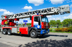 Fire truck. Iveco Magirus red white blue color on street of Minsk Belarus Stock Images